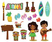 Vector illustration Hawaiian Collection.