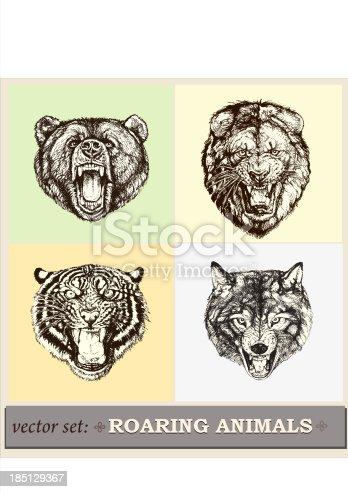 Vector illustration: heads of roaring animals