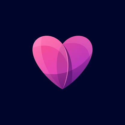 Vector Illustration Heart Gradient Colorful Style.