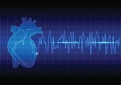 Vector Illustration heart rhythm ekg on blue background