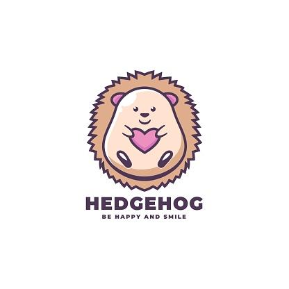 Vector Illustration Hedgehog Simple Mascot Style