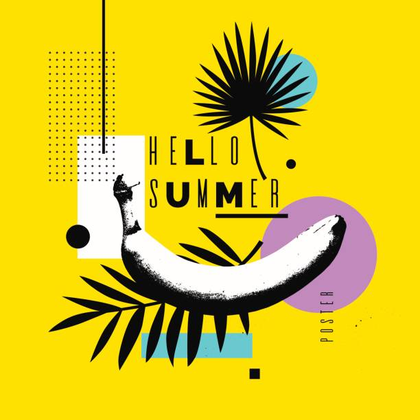 Vector illustration Hello summer. Bright poster with a banana on an abstract background Hello summer. Bright poster with a banana on an abstract background with palm leaves and geometric shapes. Vector illustration banana patterns stock illustrations