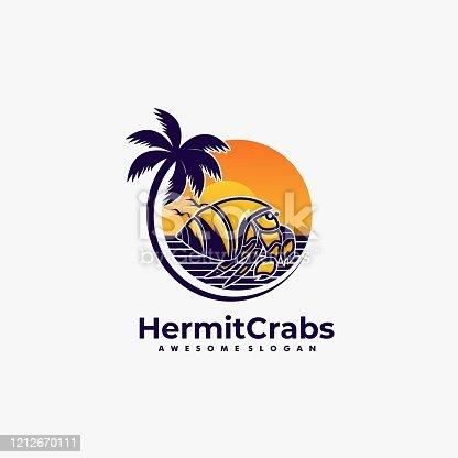 istock Vector Illustration Hermit Crabs Land Scape Vintage Badge Style. 1212670111
