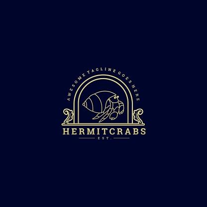 Vector Illustration Hermit Crabs Vintage Badge Style.