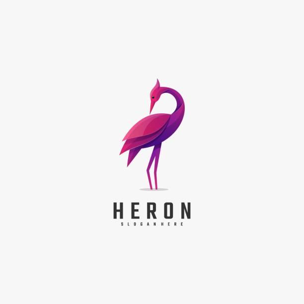 Vector Illustration Heron Gradient Colorful Style. Vector Illustration Heron Gradient Colorful Style. goose bird stock illustrations