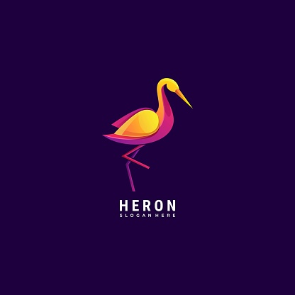 Vector Illustration Heron Gradient Colorful Style.