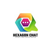 Vector Illustration Hexagon Chat Gradient Colorful Style.