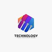 Vector Illustration Hexagon Tech  Gradient Colorful Style.