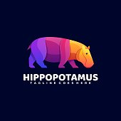 istock Vector Illustration Hippo Gradient Colorful Style. 1257148944