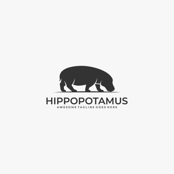bildbanksillustrationer, clip art samt tecknat material och ikoner med vektor illustration hippo silhuett. - abstract silhouette art