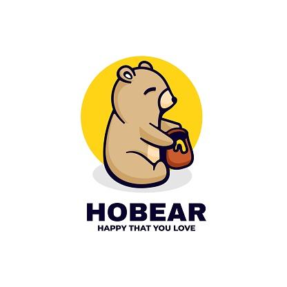 Vector Illustration Ho Bear Simple Mascot Style.
