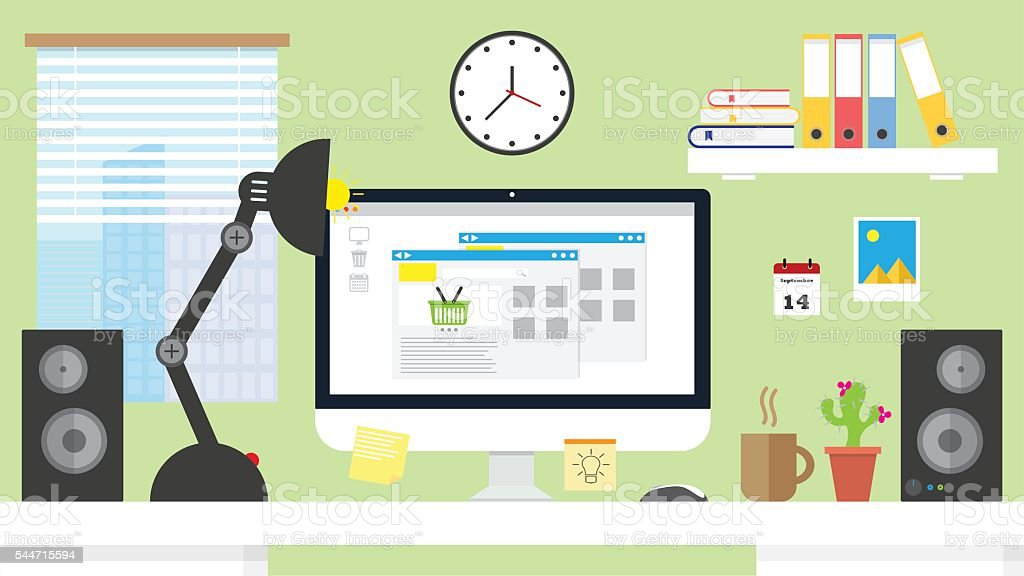 vector illustration home office workspace,workplace with computer Online shopping - ilustración de arte vectorial