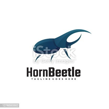 Vector Illustration Horn Beetle Gradient Colorful Style.