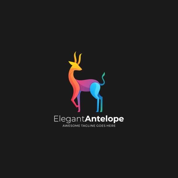 ilustraciones, imágenes clip art, dibujos animados e iconos de stock de ilustración vectorial degradado de ciervos con cuernos colorido. - hueva
