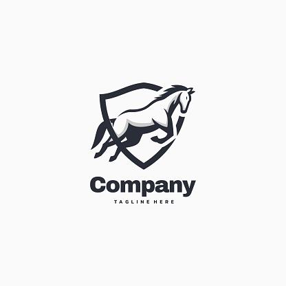 Vector Illustration Horse Company Simple Mascot Style.