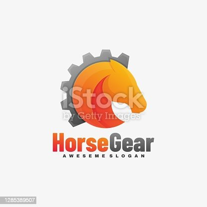 istock Vector Illustration Horse Gear Gradient Colorful Style. 1285389507
