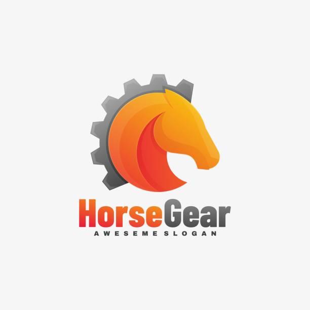 Vector Illustration Horse Gear Gradient Colorful Style. Vector Illustration Horse Gear Gradient Colorful Style. stallion stock illustrations