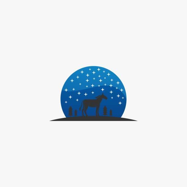 Vector Illustration Horse Night Silhouette style. Vector Illustration Horse Night Silhouette style. stallion stock illustrations