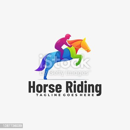 istock Vector Illustration Horse Riding Gradient Colorful Style. 1287736039