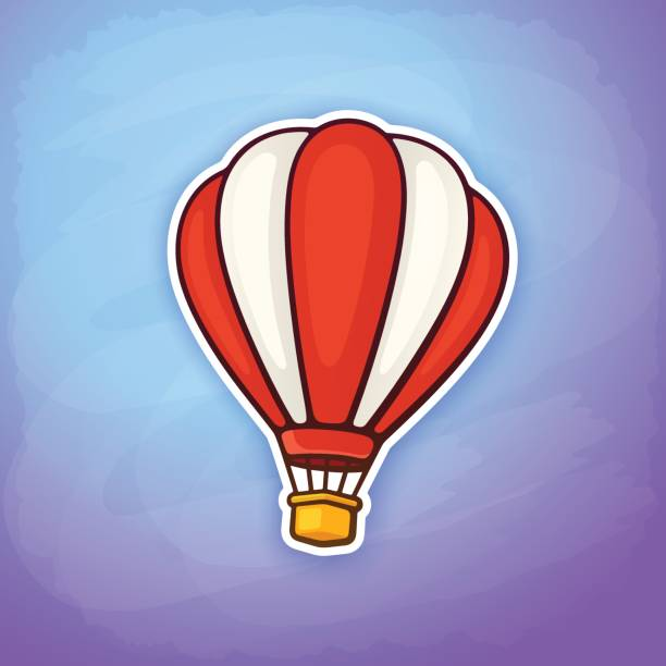vector illustration. hot air balloon in red and white stripes on sky background. summer journey by air transport. sticker in cartoon style with contour. isolated on blue background - hot air balloon stock illustrations