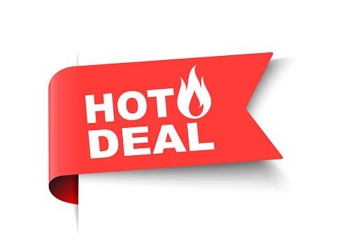 Vector Illustration Hot Deal Label. Modern Web Banner Element With fire