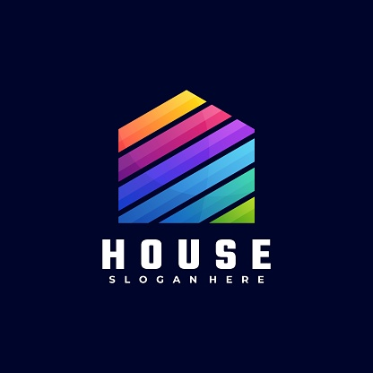 Vector Illustration House Gradient Colorful Style.