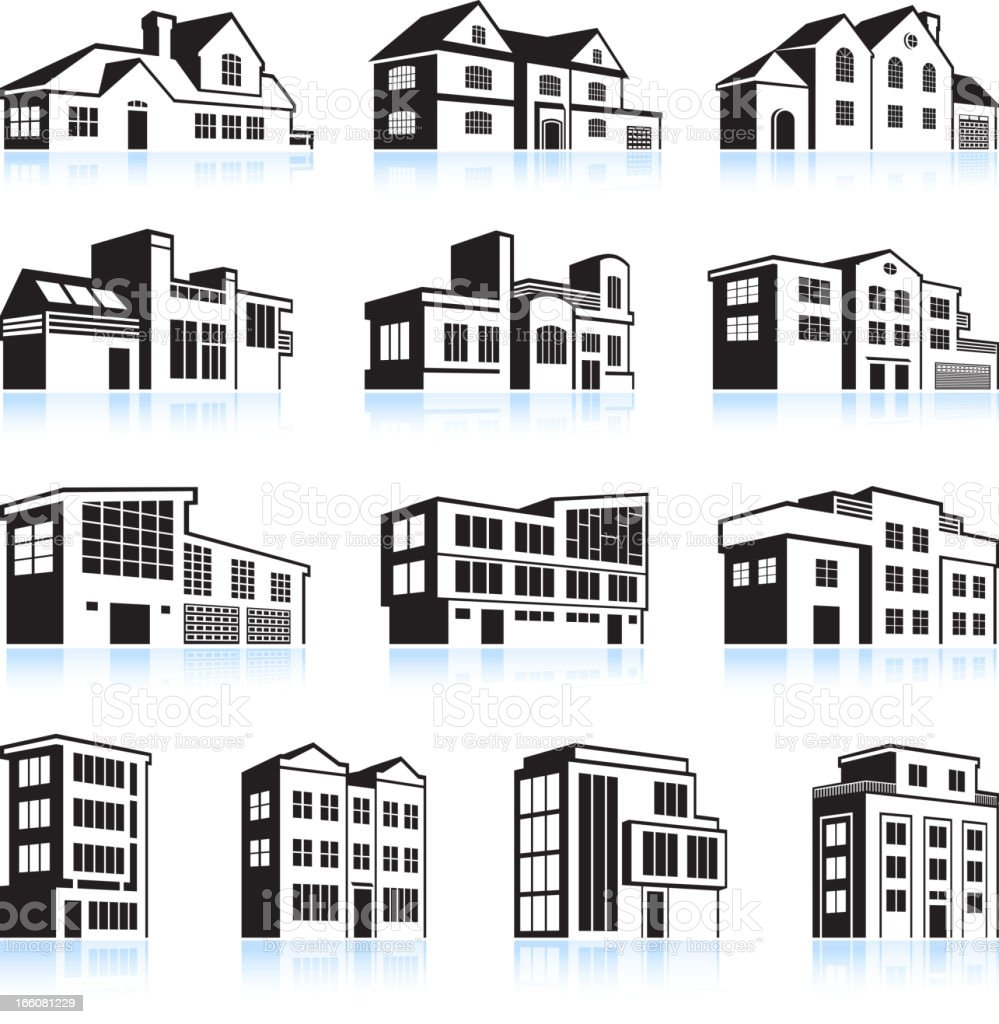 3D vector illustration houses and apartments vector art illustration