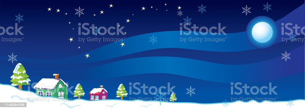 Vector Illustration Houses Trees Snow Snowflakes Stars And