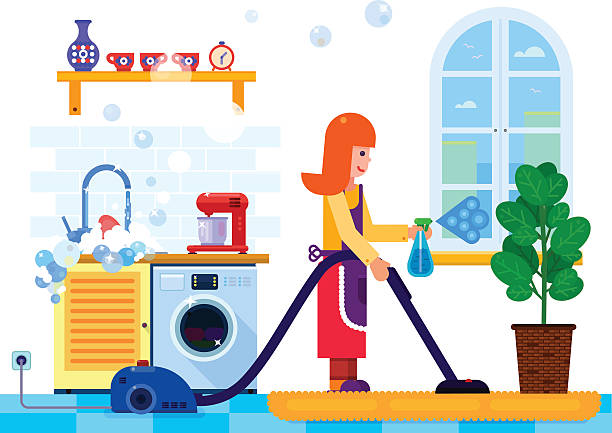 vector illustration housewife woman - busy restaurant kitchen stock illustrations