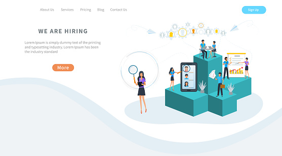 641422198 istock photo Vector illustration, human resources management, online recruitment and headhunting agency. Employment service. HR manager seeking professional employee for office job hiring. Employees hiring. 1215951255