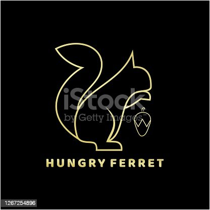 istock Vector Illustration Hungry Ferret Line Art Style. 1267254896