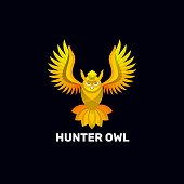 Vector Illustration Hunter Owl Gradient Colorful Style.