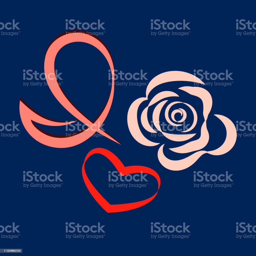 Vector illustration. I love roses. Letter I, a red heart, a stylized...