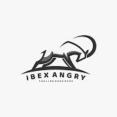 istock Vector Illustration Ibex Angry Simple Mascot Style. 1249110504