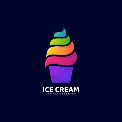 Vector Illustration Ice Cream Gradient Colorful Style.
