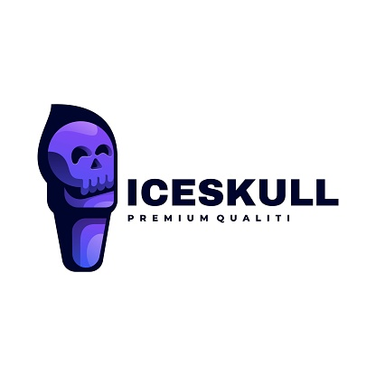 Vector Illustration Ice Skull Gradient Colorful Style.