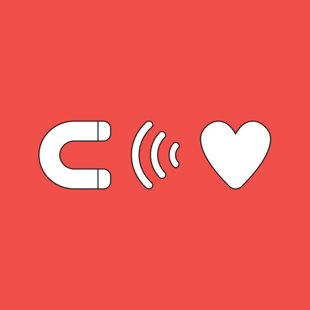 Vektor-Illustration-Symbol-Konzept des Magneten zieht Herz. – Vektorgrafik