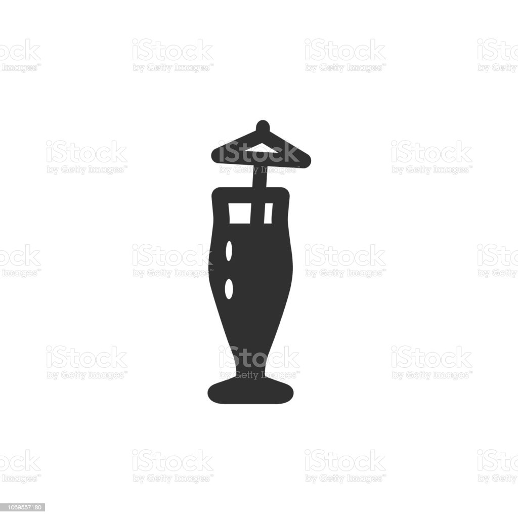Vector illustration icon of high classic beer or coctail mug (glass) with tube and umbrella vector art illustration