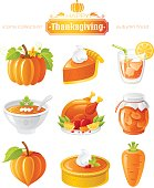 Vector illustration icon set with autumn and thanksgiving food and symbols on white background. Includes pumpkin vegetable, pie slice, orange juice, soup, roast turkey, apricot jam, cake, carrot.