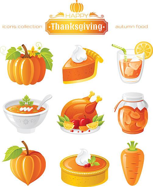 vector illustration icon set with autumn and thanksgiving food - pumpkin pie 幅插畫檔、美工圖案、卡通及圖標