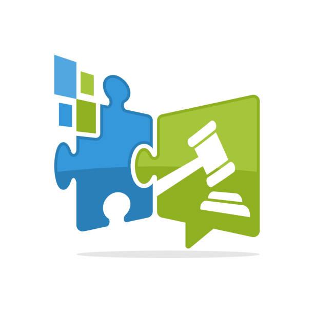 ilustrações, clipart, desenhos animados e ícones de vector o ícone da ilustração com um conceito digital dos meios da solução que comunique sobre a informação do negócio do leilão - assistente jurídico