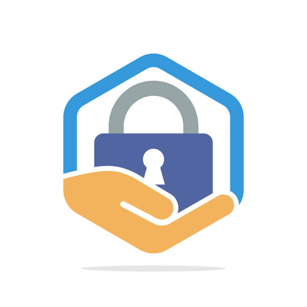 ilustrações de stock, clip art, desenhos animados e ícones de vector illustration icon with secret security protection concept - seguros