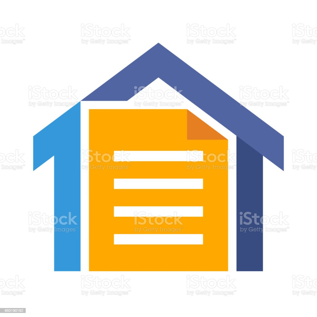 vector illustration icon with the concept of a home administration document, or file document storage - illustrazione arte vettoriale