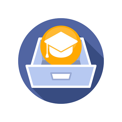 Vector illustration icon with the concept of educational data document storage media
