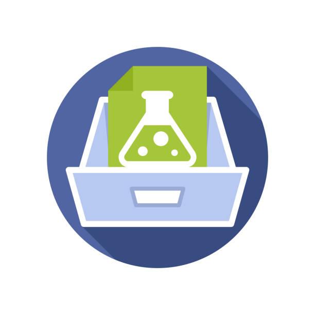 bildbanksillustrationer, clip art samt tecknat material och ikoner med vektor illustration ikon med begreppet laboratorie analys dokument lagrings medier - byrålåda