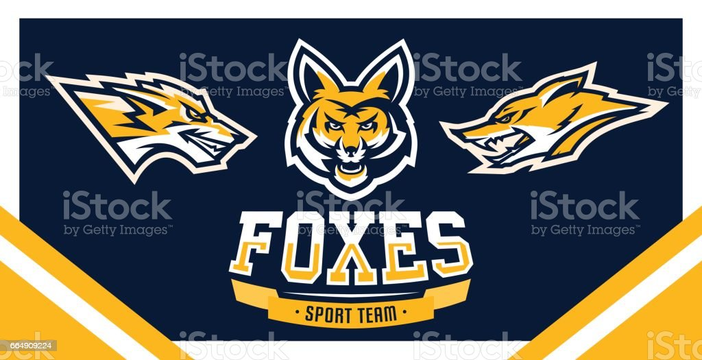 Vector illustration, identity, print, set of symbols for companies, teams, sports club, community, aggressive fox ready to attack, forest predator. vector art illustration