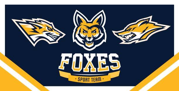 Vector illustration, identity, print, set of symbols for companies, teams, sports club, community, aggressive fox ready to attack, forest predator. vector art illustration