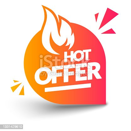 istock Vector Illustration Illustration Hot Offer Label With Flame 1331429610
