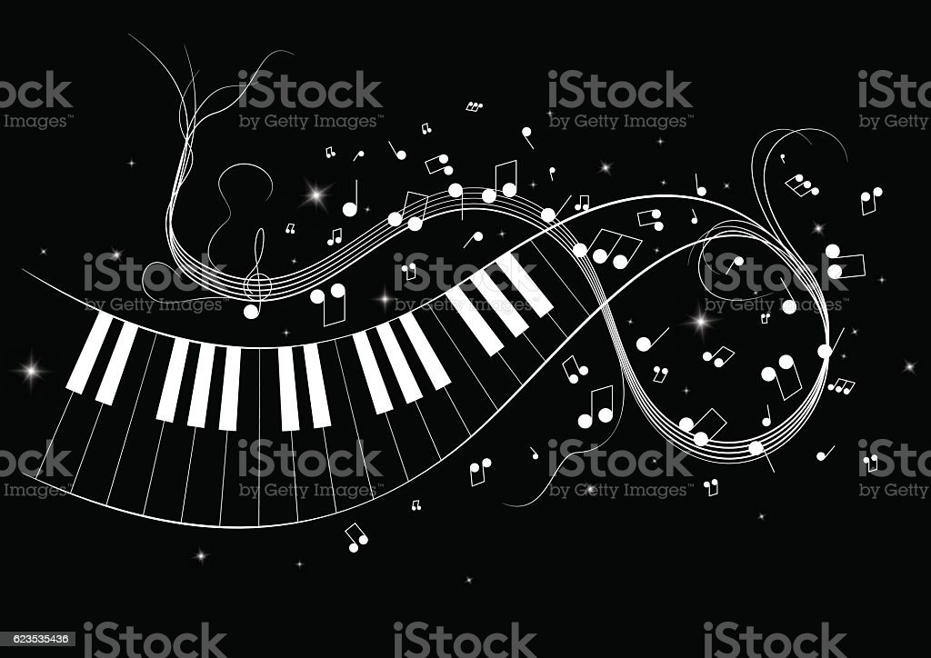 Vector illustration image of piano notes vector art illustration