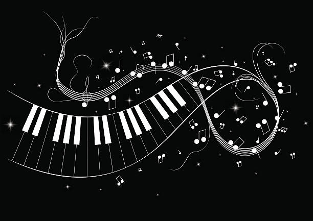 vector illustration image of piano notes - pianino instrument klawiszowy stock illustrations